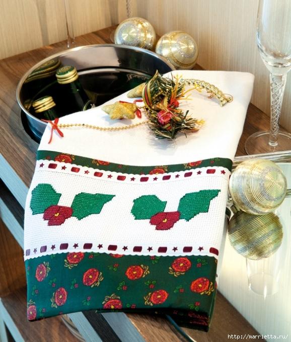 Рождественская вышивка для скатерти и полотенца. Схемы (12) (578x680, 278Kb)