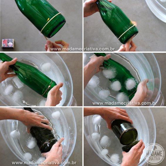 Сделать подсвечник из бутылки своими руками