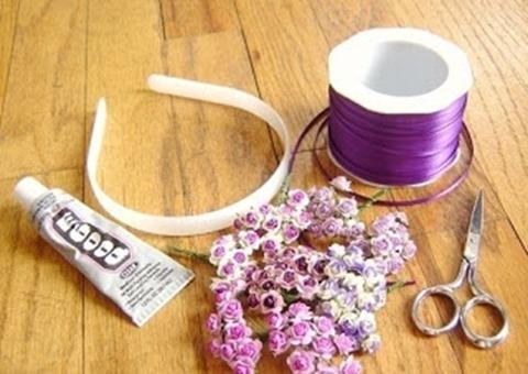 Как украсить ободок цветами и лентами