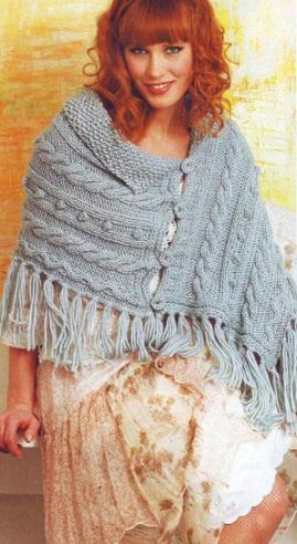 Вязаное спицами пончо - схема