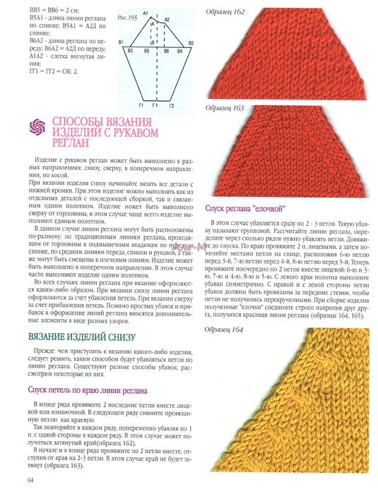 Как оформить линию реглана при вязании снизу 87