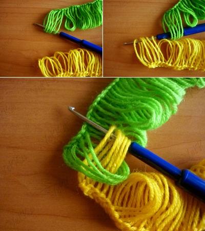 Веселый шарфик, вязание крючком на линейке (4) (400x450, 181Kb)