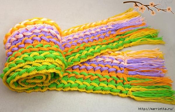 Веселый шарфик, вязание крючком на линейке (8) (600x384, 225Kb)