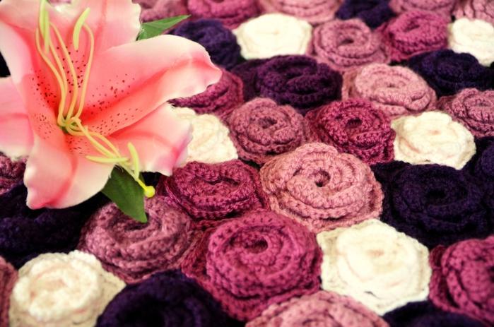 Цветочные ковры крючком