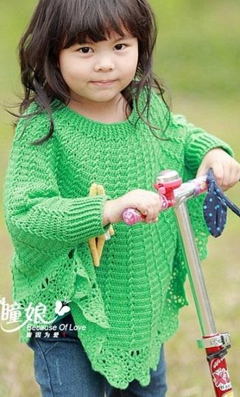 Схема вязания пончо для
