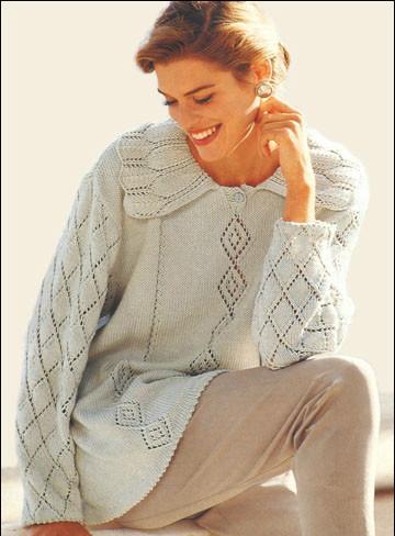 Вязание женских пуловеров спицами из тонких ниток 11