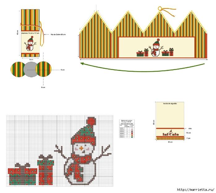 Новогодняя вышивка. Снеговик (2) (700x627, 187Kb)