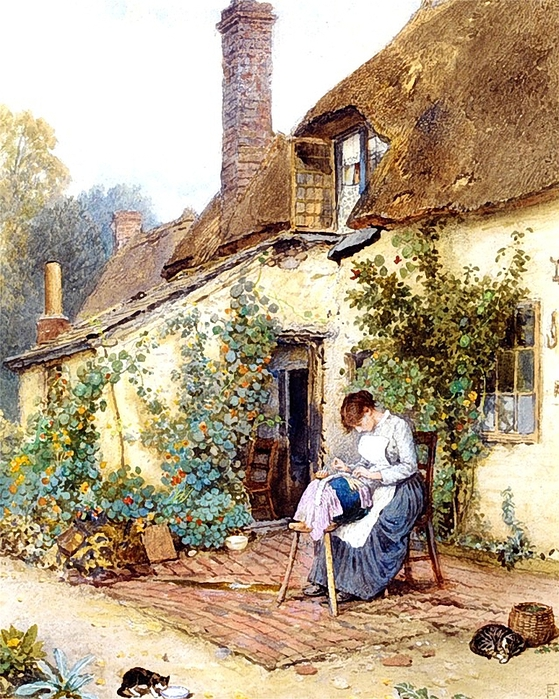A Lace Maker. Myles Birket Foster (1825-1899) (559x700, 388Kb)