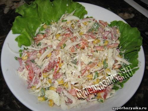 рецепт салата с сырокопченой колбасой