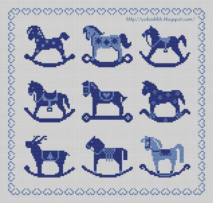 Лошадки-качалки синий- (700x665, 452Kb)