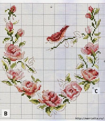 Схемы вышивки для подушки и скатерти (9) (446x512, 252Kb)