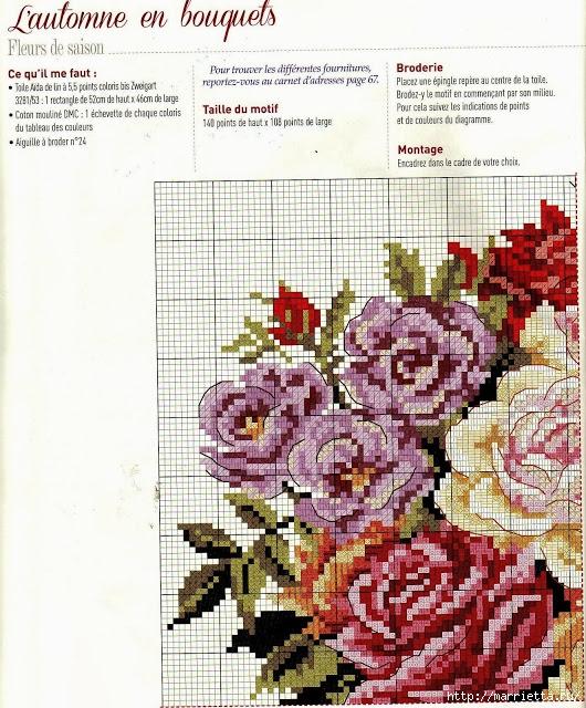 Легкие схемы вышивки с цветами