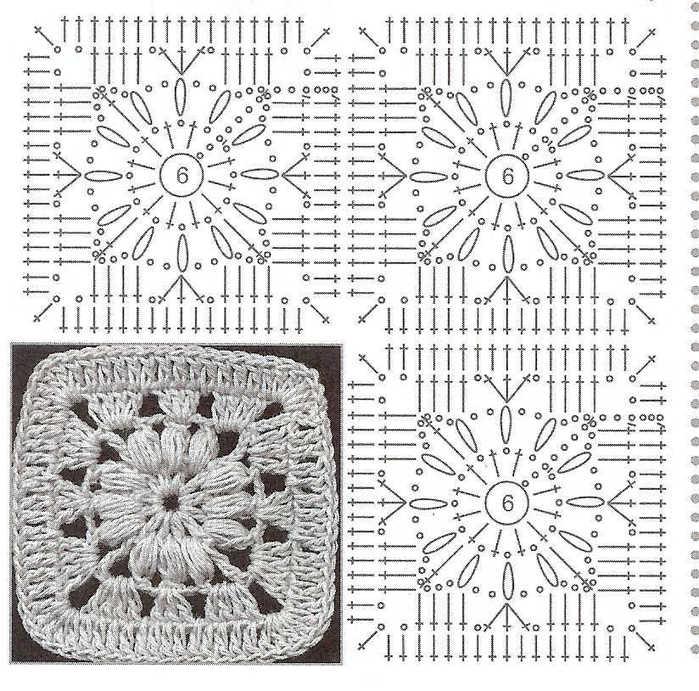 Схемы для вязания крючком квадратный мотив 412