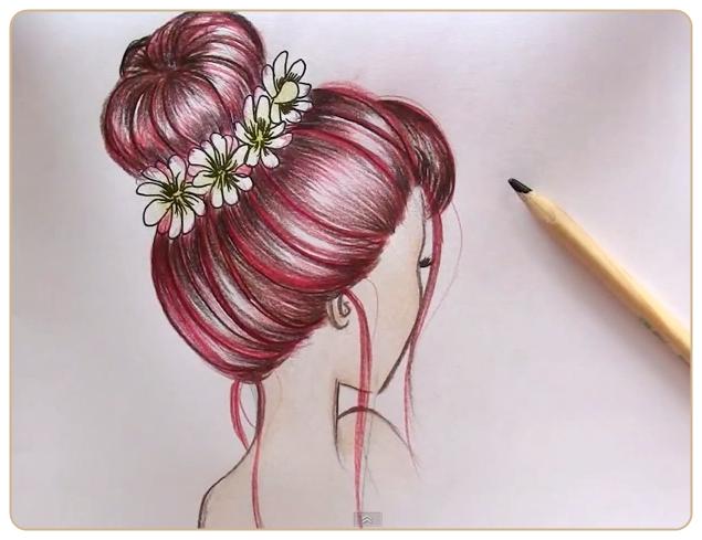 Рисуем темные волосы . (Messy Bun Hair) Автор ...: www.liveinternet.ru/community/decor_rospis/post298043199