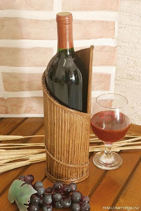 подставка для винных бутылок из газетных трубочек (2) (466x699, 218Kb)