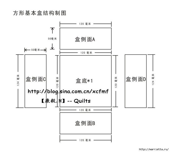 Мягкая коробочка из картона и ткани своими руками. Мастер-класс (13) (690x617, 80Kb)