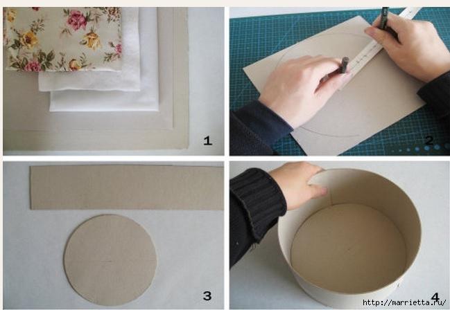 Круглая коробочка из ткани и картона своими руками (3) (649x448, 131Kb)