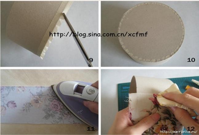 Круглая коробочка из ткани и картона своими руками (5) (647x441, 133Kb)