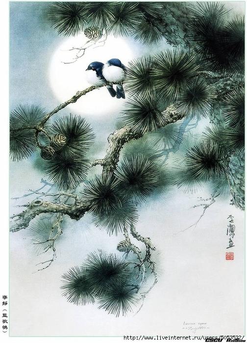 Мир птиц художника Зенг Ксяо (504x700, 327Kb)
