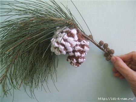 как сделать сосновые еловые шишки, как сделать новогодние шишки, как связать новогодние сосновые еловые шишки, вязаные шишки Хьюго Пьюго,
