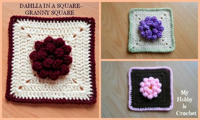 Квадратные с цветком георгина