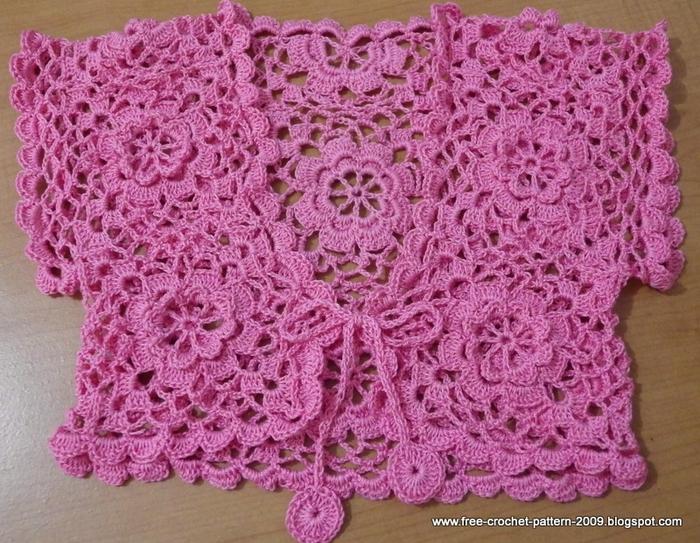 Связать розовый болеро для девочки