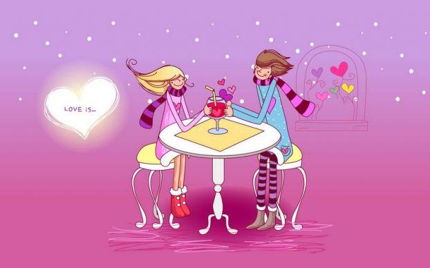 День святого Валентина, всех влюбленных, любовь, love, огонь, поздравление, романтика, влюбленная, пара, влюбленные, сердечки, love is, сидят в кафе за столиком (622x388, 28Kb)