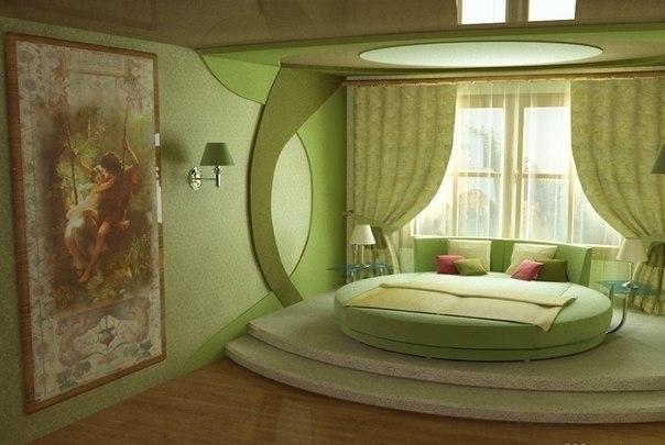 Интерьер салатовой спальни