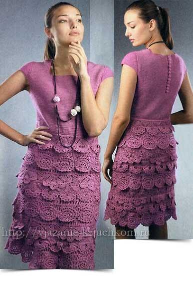 Платье с оборками.  Описание и схемы вязания крючком.