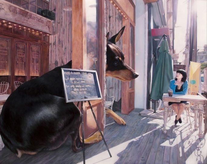 девушка с собакой Woo Jeong Jae (680x541, 156Kb)