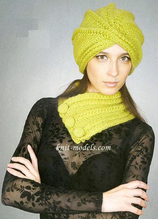 Шапка-чалма и шарф-воротник.