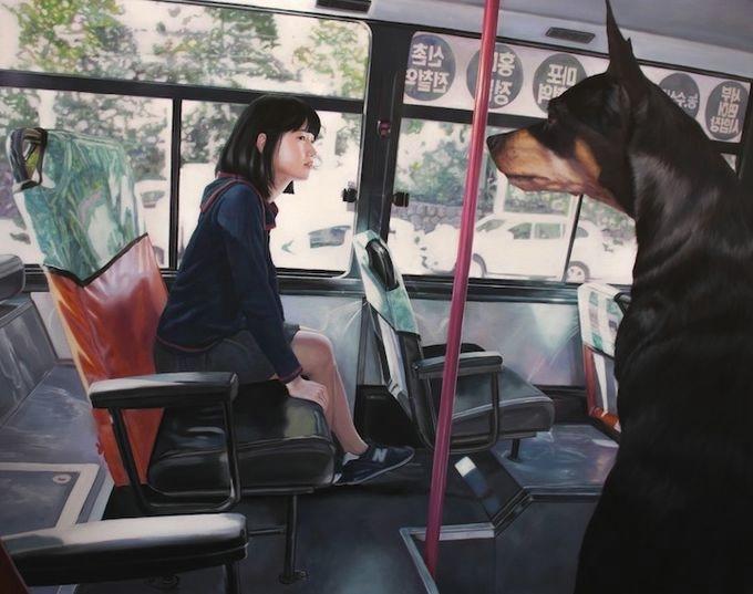 девушка с собакой Woo Jeong Jae 8 (680x537, 137Kb)