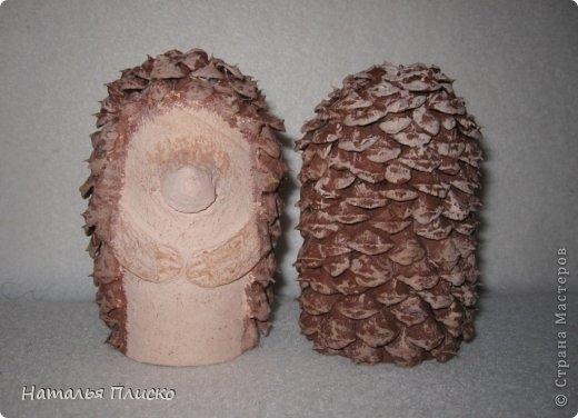 Прикольные ежики - подвески из шишек и рулончиков от туалетной бумаги (6) (520x376, 99Kb)