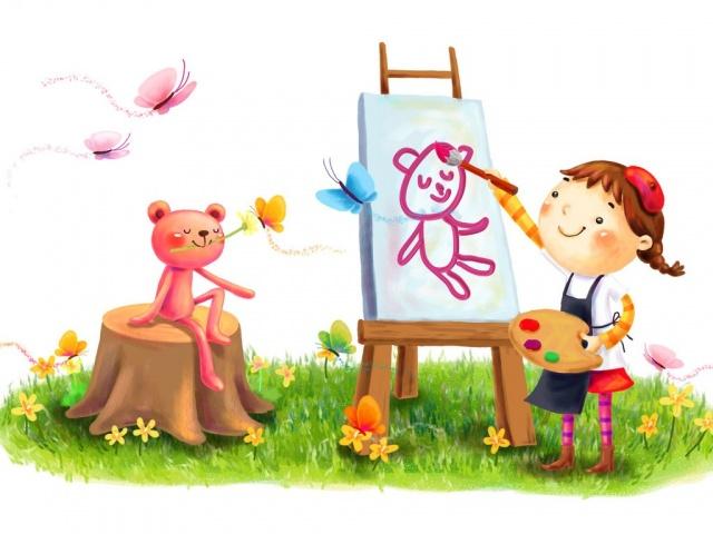 1680x1050 улыбка, краски, рисование, девочка, зверёк, рисуно…