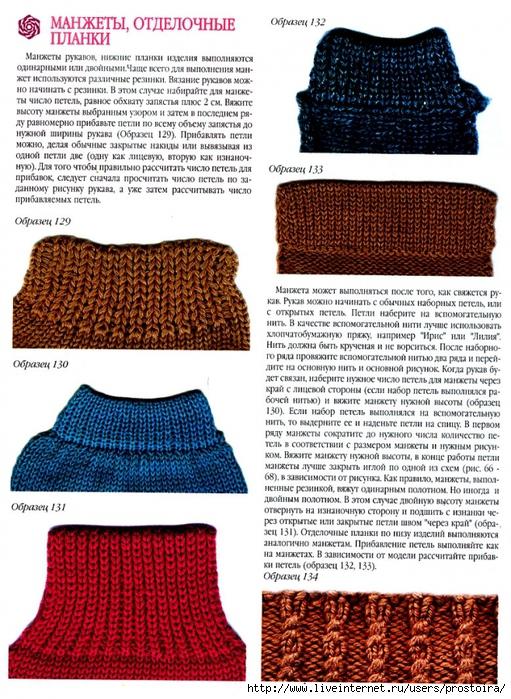 Вязание рукава от манжета
