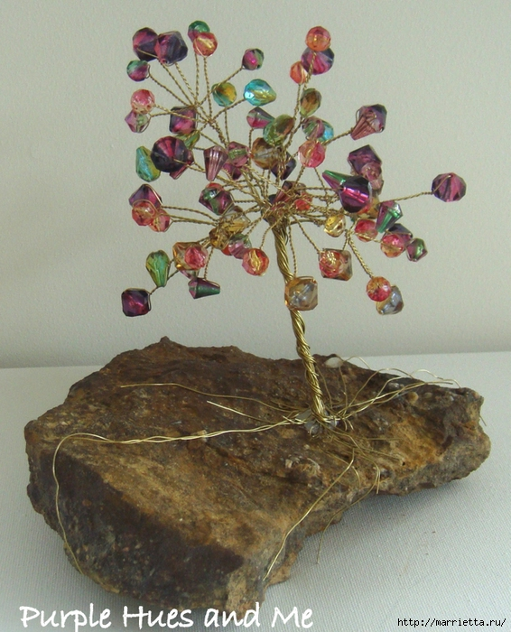 Цветочное дерево на камне. Красивая композиция из бисера и проволоки (10) (566x700, 336Kb)