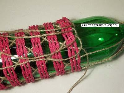 Оплетаем бутылку. Плетение джутом (18) (400x300, 79Kb)