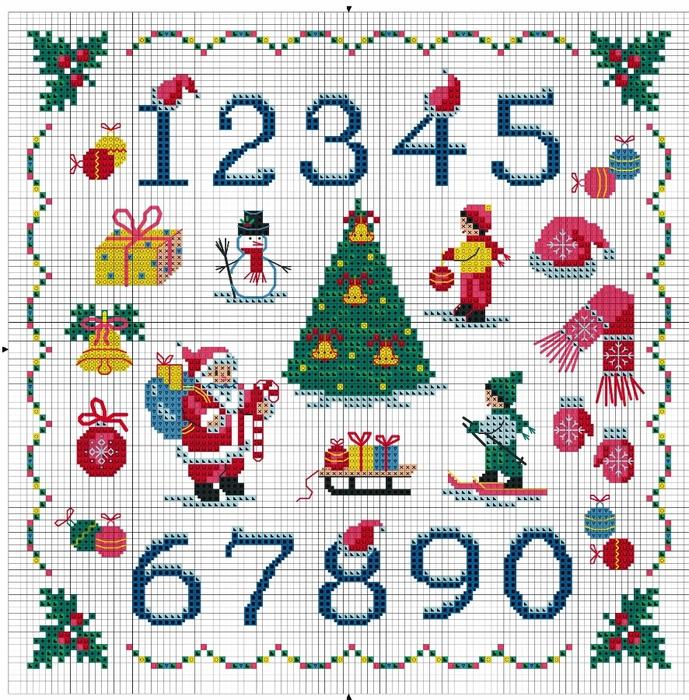 Новогодние цифры, схемы для