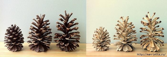 Зимняя классика. Отбеленные сосновые шишки (30) (700x241, 170Kb)