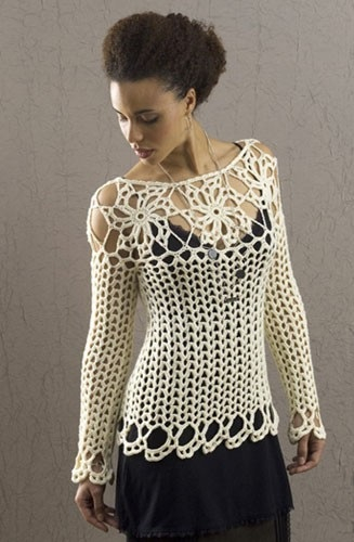 блузка вязаная белая (327x500, 125Kb)