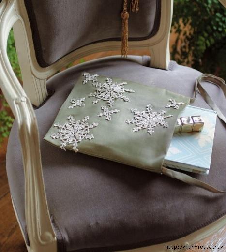 Снежинки крючком для украшения шарфика и сумочки (2) (467x521, 145Kb)