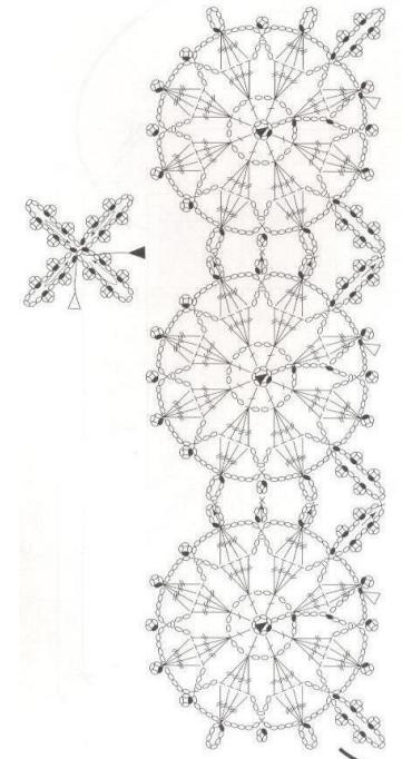 Снежинки крючком для украшения шарфика и сумочки (3) (361x682, 233Kb)