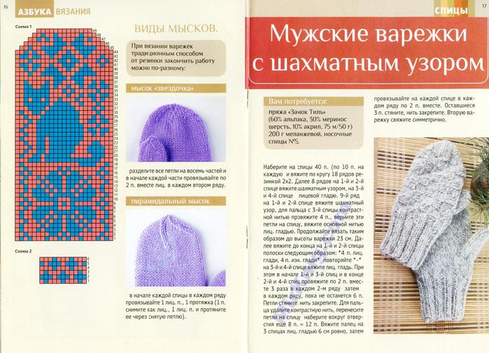 Узор мужских варежек спицами