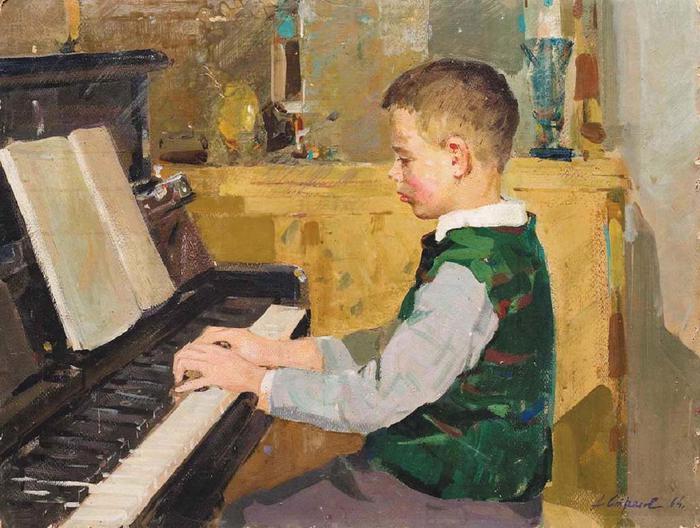 Стрелов Аркадий Ефимович (1923 – 2005) мальчик за фортепиано (700x528, 66Kb)