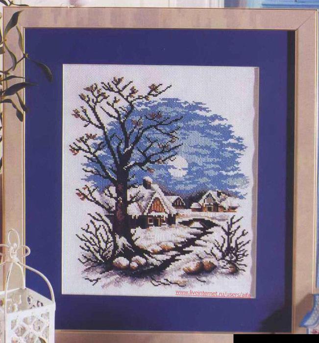 Вышивка крестом схемы зима в деревне