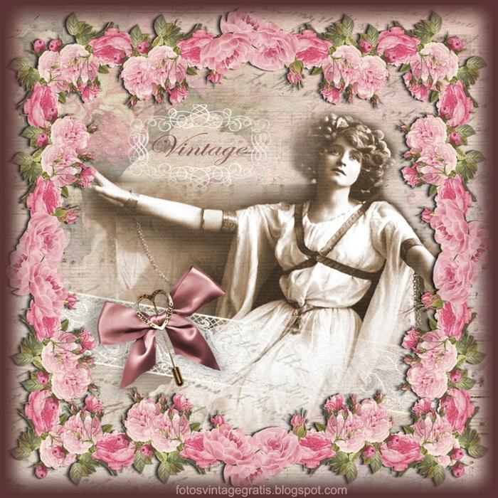 fondo vintage con dama y flores (700x700, 437Kb)