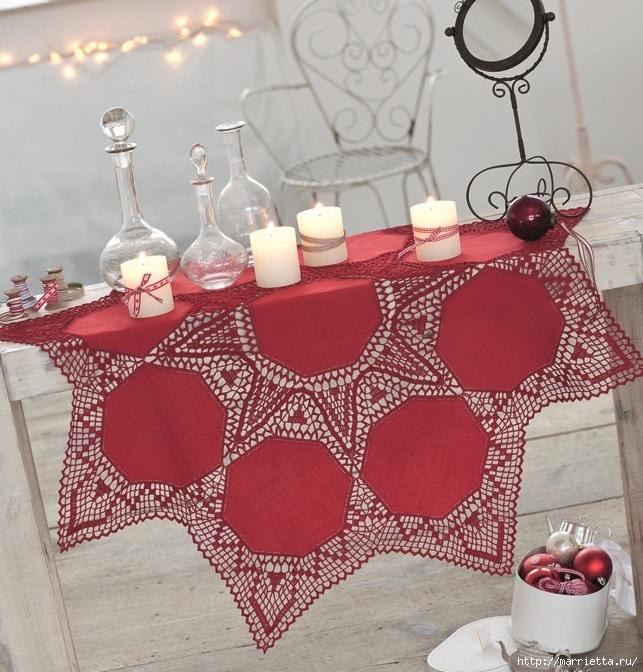 Ткань и крючок. Красная рождественская скатерть (643x672, 296Kb)