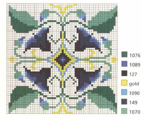Вышивка для саше и подушечки. Схемы (1) (498x409, 420Kb)