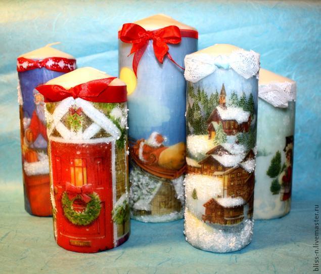 Декупаж свечей к новому году своими руками