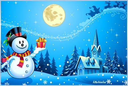 Снеговик-с-подарком (450x301, 220Kb)